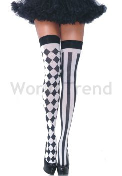 Black & White Diamond & Stripes patterned Hold Ups
