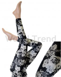 Black&White Rose Leggings