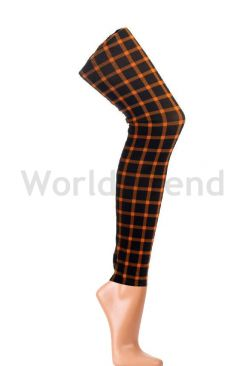 Orange and Black checked colourful Leggings